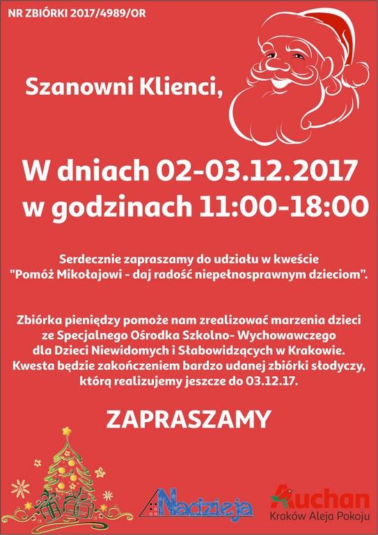 Pomóż Mikołajowi – zbiórka publiczna na terenie Auchan Kraków Aleja Pokoju